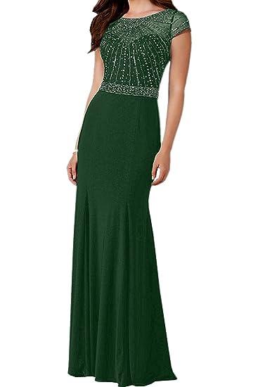 La_Marie Braut Braun Damen Lang Steine Chiffon Abendkleider  Brautmutterkleider mit Kurzarm Festlichkleider: Amazon.de: Bekleidung