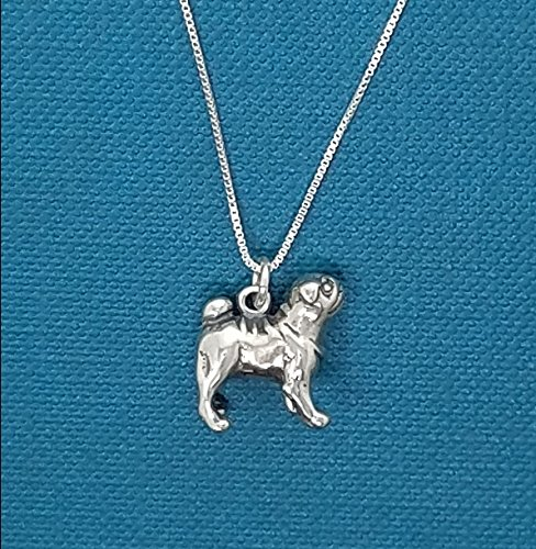 (Little girl's pug necklace in sterling silver. Little girls jewelry. Pug necklace. Pug jewelry. Pug Charm.)