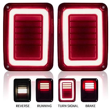 amazon com: upgraded jeep wrangler jk led tail lights smoked for 07-17 jeep  wrangler reverse light turn signal lamp running lights, 2 years warranty:
