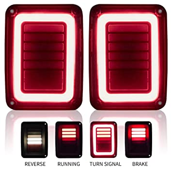 upgraded jeep wrangler jk led tail lights smoked for 07 17 jeep wrangler reverse light turn signal lamp running lights, 2 years warranty  poison spyder led tail and reverse