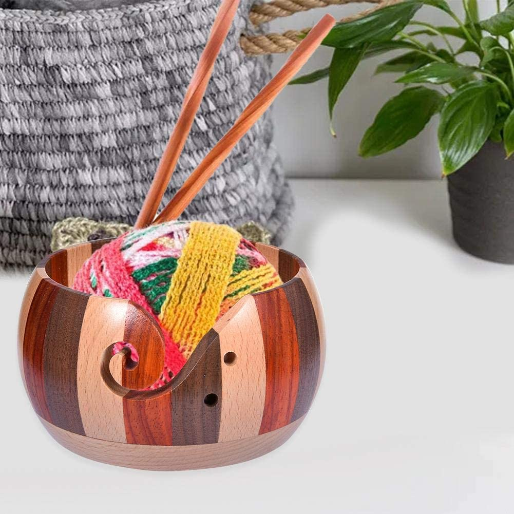 Large Wooden Yarn Bowl Handmade Woolen Bowl Handmade Wooden Yarn Bowl Wooden Yarn Bowl Wooden Bowl Solid Wood Woolen Bowl to Take with You Durability and Safety