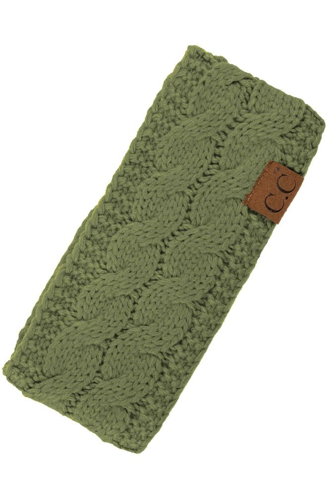 ScarvesMe C.C Womens Sherpa Lined Winter Cable Knit Headband Headwrap (Olive)