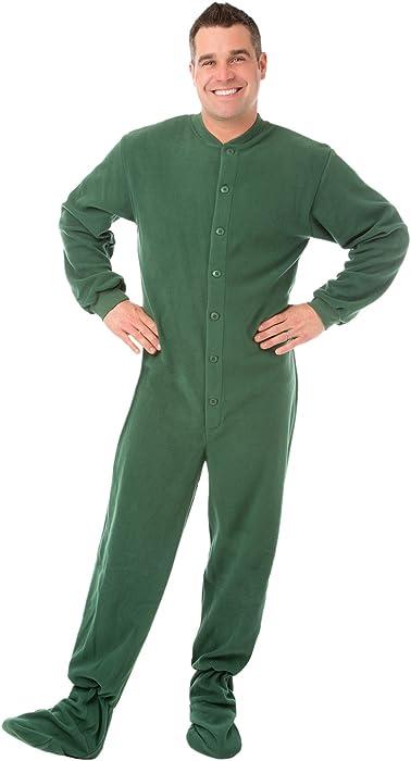 e72b1ed077 Big Feet PJs Green Micro-polar Fleece Adult Footed Pajamas NO Drop Seat  Onesie at Amazon Men s Clothing store  Novelty Pajama Sets