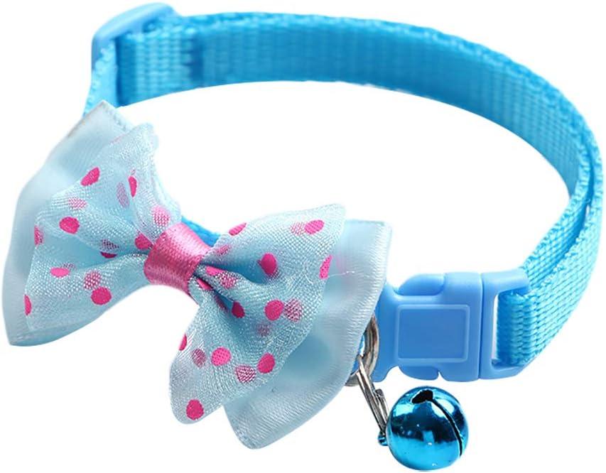 1 Pack 19-32cm Pet Bow Collar Cat Bell Collar Pet Collar,Cloth,Wide 1.0CM Neck Adjustment DaoRier