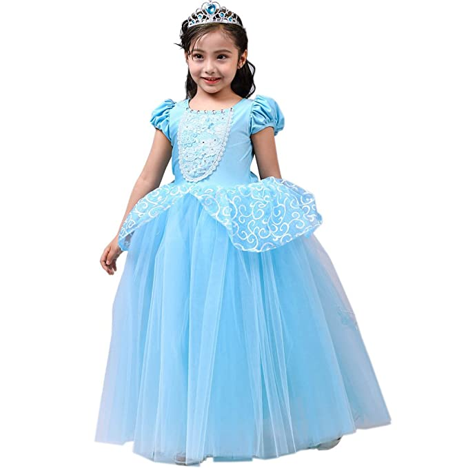 0974ef4b2f48 Amazon.com: SIZANI Girls Princess Cinderella Costumes Princess Dress up,  Kids Party Cosplay Costume Queen Dresses for Little Girls 2-12T: Clothing