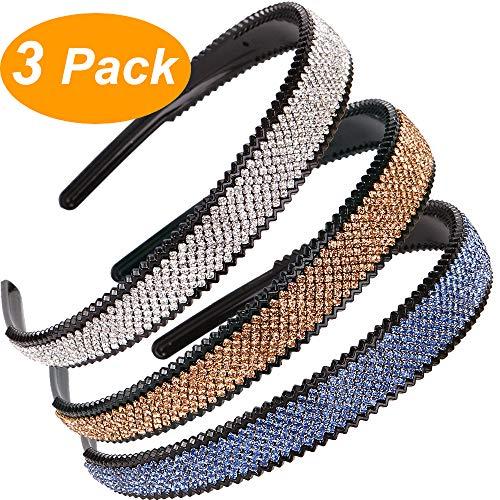 LONEEDY 2cm Wide Full Rhinestone and Crystal Teeth Comb Headbands For Women, 2cm Non-slip Hard Headbands (Silver+Gold+Light blue)