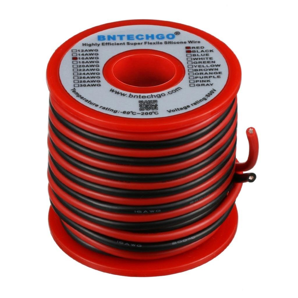 BNTECHGO 16 Gauge Silicone Wire Spool 50 feet Ultra Flexible High Temp 200 deg C 600V 16 AWG Silicone Wire 252 Strands of Tinned Copper Wire 25 ft Black and 25 ft Red Stranded Wire for Model Battery bntechgo.com