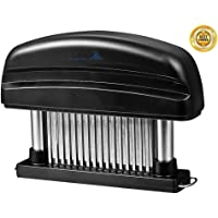 Meat Tenderizer - Professional Commercial Quality Kitchen Tool 48 Stainless Razor-sharp Steel Blades For Steak, Chicken, Fish, Pork - Meat Genie Tenderizers with Safety Lock (black)