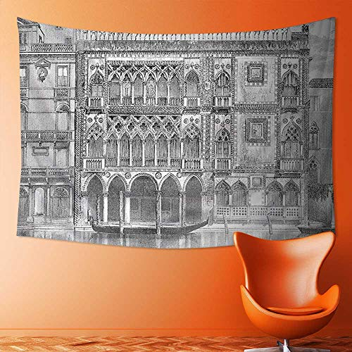 SOCOMIMI Wall Tapestry Home Decor 19th Century Engraving of Grand Canal Venice Monument Landmark Illustration Black White Tapestries for (19th Century Tapestry)