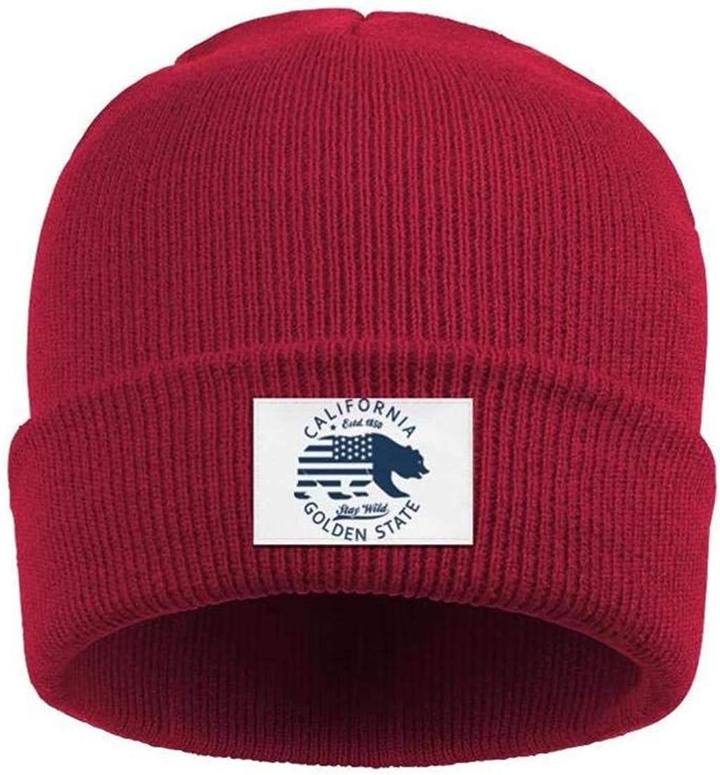 Mens Slouchy Beanie Hat Toboggan Hats California Bear Golden State Woolen Cap