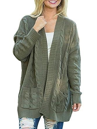 59774a1fd Cardigans Women Open Front Chunky Boyfriend Fall Winter Sweater Knit Jackets  Tops ...
