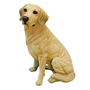 Design Toscano Golden Labrador Retriever Dog Garden Statue, 15 Inch, Polyresin, Yellow