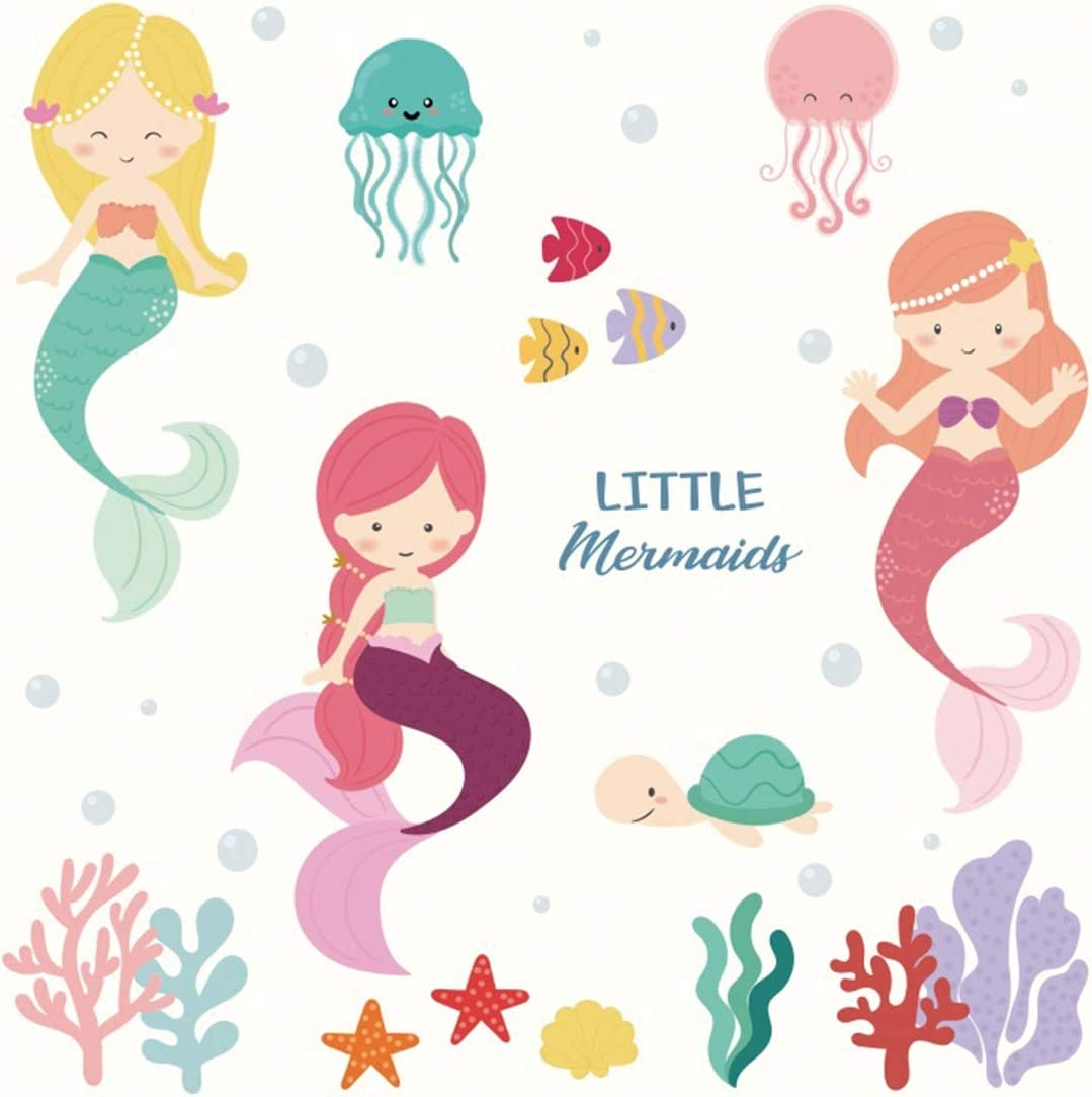 Yeele Mermaid Backdrop for Birthday 10x10ft Kids Party Photography Background Kids Adults Artistic Portrait Birthday Party Banner Room Decoration Photo Booth Photoshoot Props Wallpaper