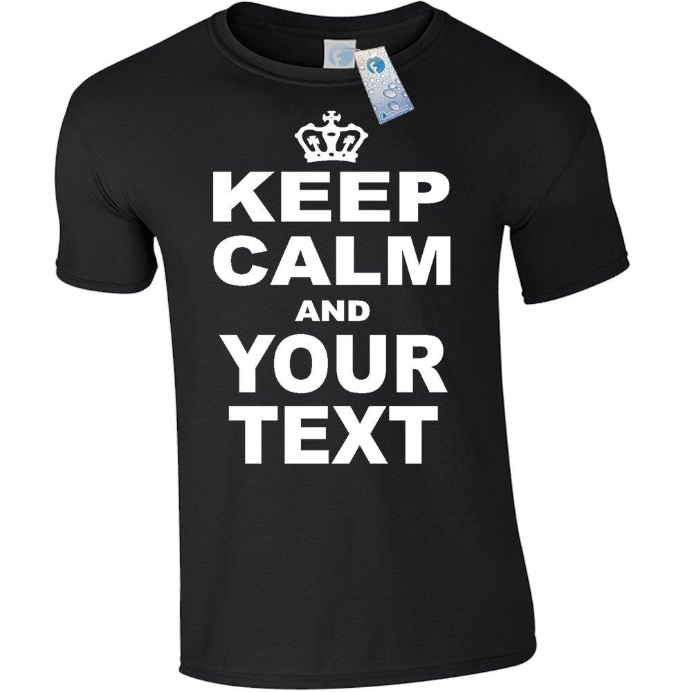 Kids Personalised Keep Calm T Shirts Black New Child Boy Girl