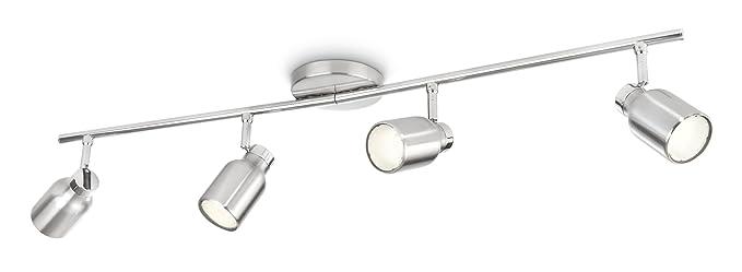 Philips 556741716 - Lámpara de techo (acero, 4 focos GU10 de 10 W)