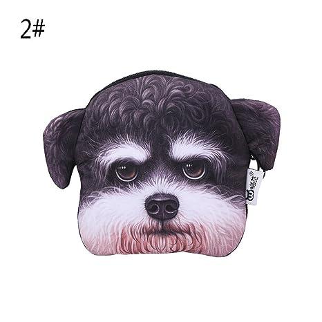 Junlinto Moda 3D Animales Caja de la Cremallera de la Cara del Perro Monedero Bolsa Monedero