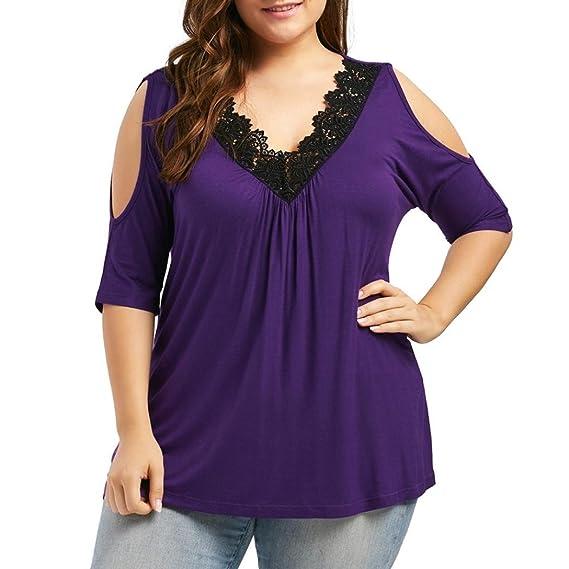 Camisa para Mujer Talla Grande,Blusa con Cuello en V sin Costuras y