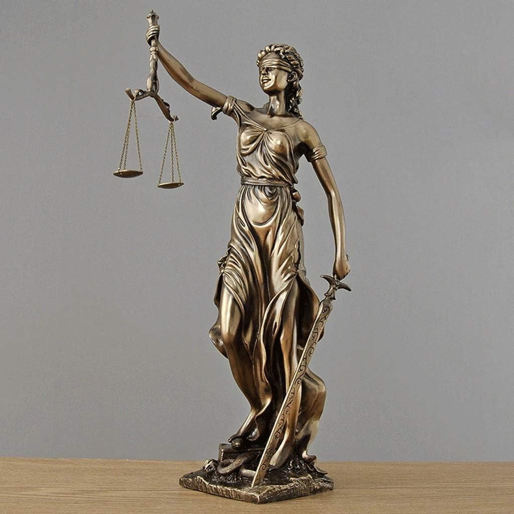 Estatua de Justicia Ciega Doblada Ciega En Bronce Fundido - Diosa Romana De La Justicia Escultura Llevando Las Escalas De Justicia Y Swor (Tamaño : L43×H92CM): Amazon.es: Hogar
