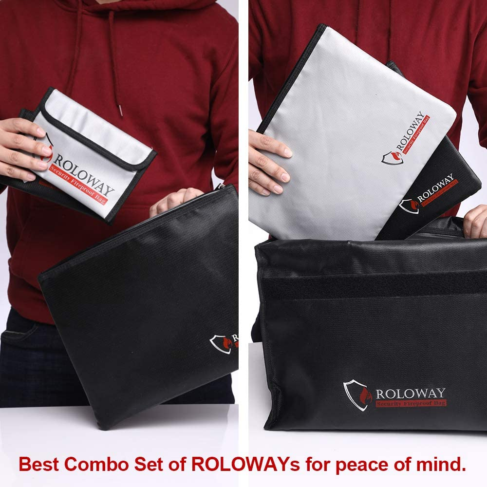 ROLOWAY Fireproof Document Bag (13.4 x 9.8 inches), Fireproof Money Bag for Cash, A4 Documents with Zipper & Strap (2-Pack) - -