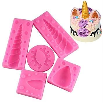 Juego de moldes de silicona para fondant con forma de ojo de unicornio, moldes de