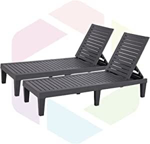 Furnivilla Outdoor Chaise Lounge Patio Resin Lounge Chair Adjustable with 5-Position Design Wooden Texture for Patio, Beach and Poolside (Black x 2)