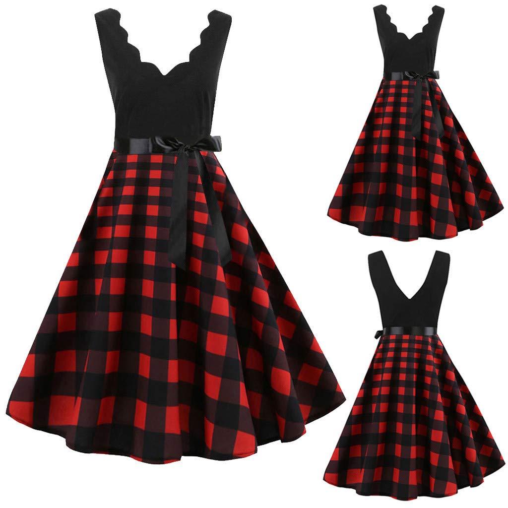 cedc0c56dfb24 Women's 1950s Retro Vintage Cap Sleeve V Neck Rockabilly Swing Dress ...