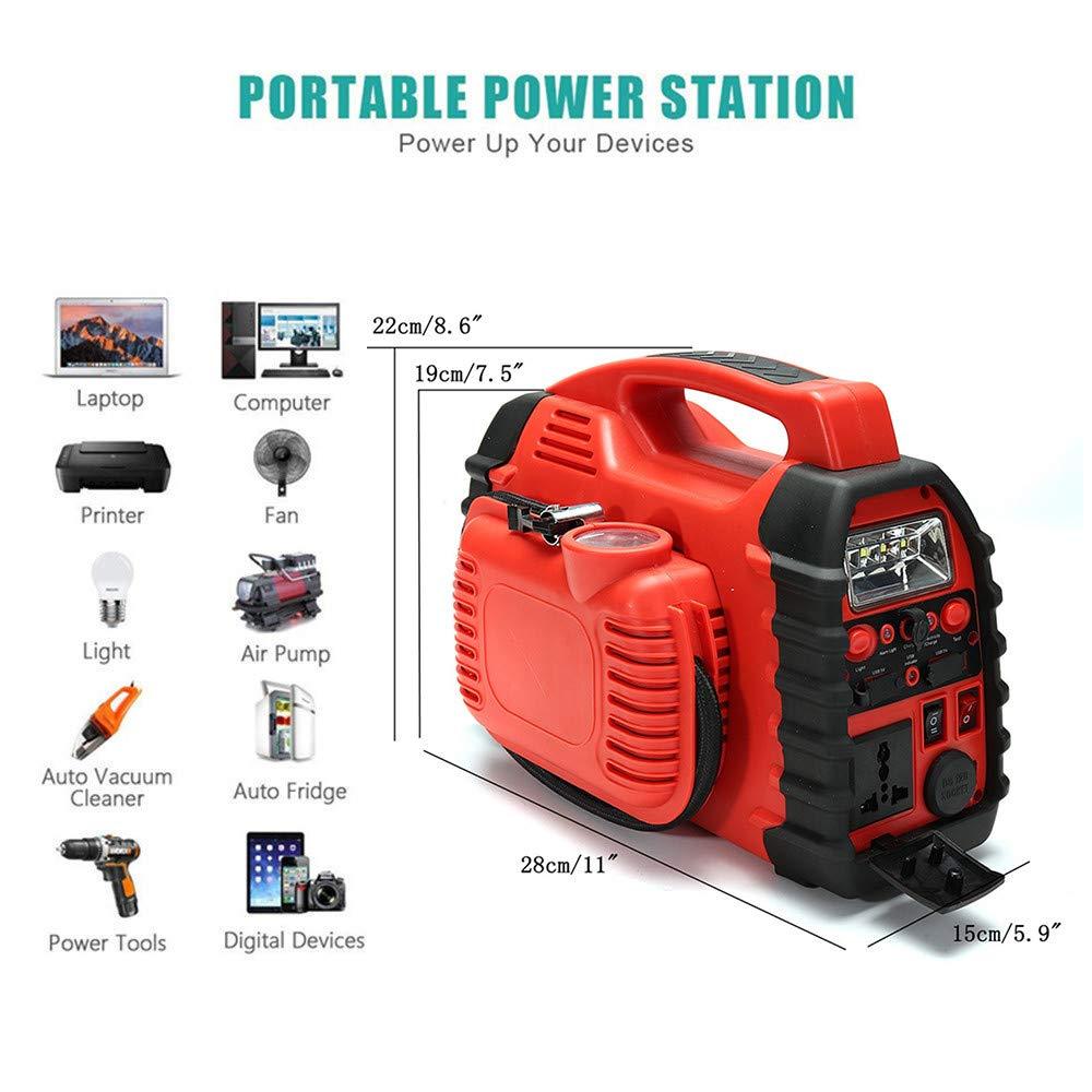 12V Aire Compresor De Coche Cargador De Batería De Arranque Cargador De Coche Portátil Con Luces LED (Rojo): Amazon.es: Hogar