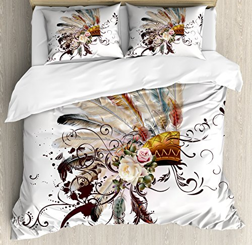 Ambesonne Feather Duvet Cover Set, Floral Arrangements Head Wear Flowers Swirls Shapes, Decorative 3 Piece Bedding Set with 2 Pillow Shams, Queen Size, Cream Ivory