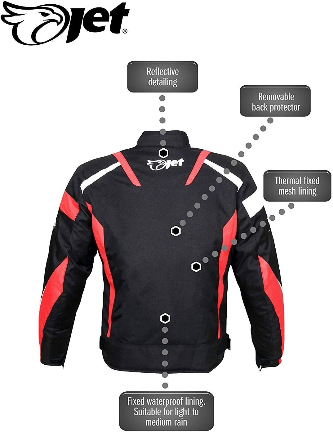 34-36 Black, XS JET Motorcycle Motorbike Jacket Scooter Moped Commuter Urban Rider Protective Jacket Textile Armoured ECONOTECH