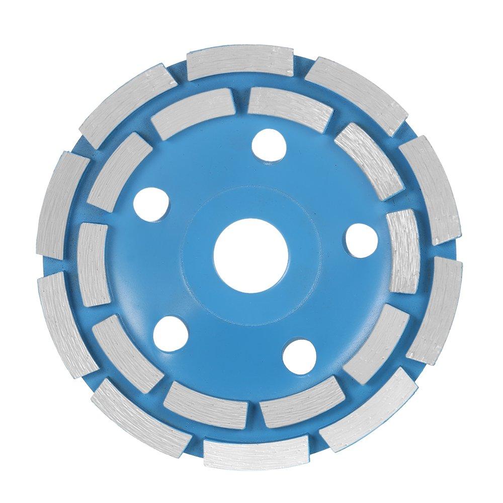 125mm 5'' Diamond 2 Row Segment Grinding Wheel Disc Bowl Shape Grinder Cup 22mm Inner Hole for Concrete Granite Masonry Stone Ceramics Terrazzo Marble Building Industry
