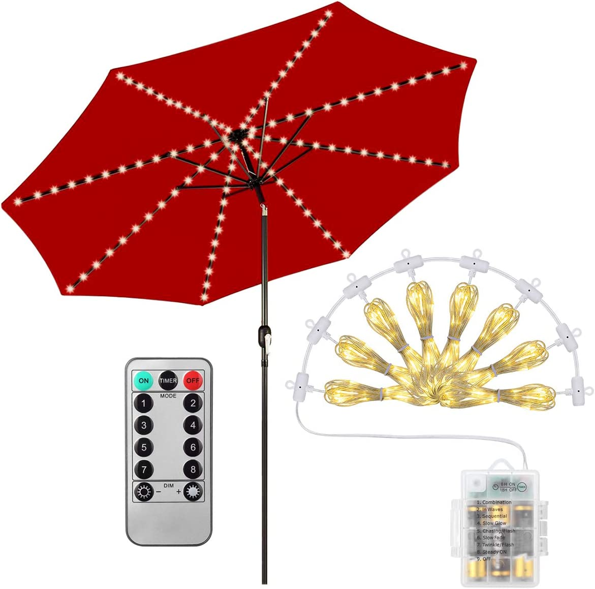 Patio LED Umbrella String Lights, 104 LED String Lights with Remote Control, 8 Lighting Mode Umbrella Lights Battery Operated Waterproof Outdoor Lighting for Patio Umbrellas Camping Tents or Outdoor
