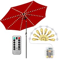 Patio Umbrella Lights, 104 LED String Lights with Remote Control, 8 Lighting Mode Umbrella Lights Battery Operated Waterproof Outdoor Lighting for Patio Umbrellas Camping Tents or Outdoor