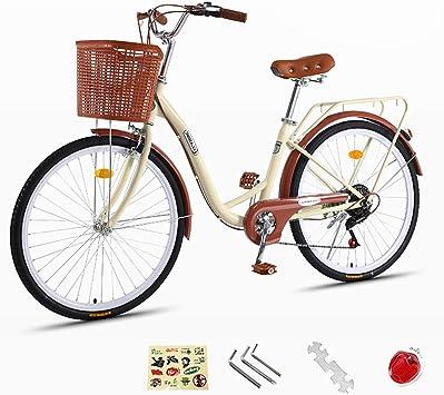 ZXLLO Bicicleta Damas Adultas 24 Pulgadas Bicicleta Ligera Retro ...