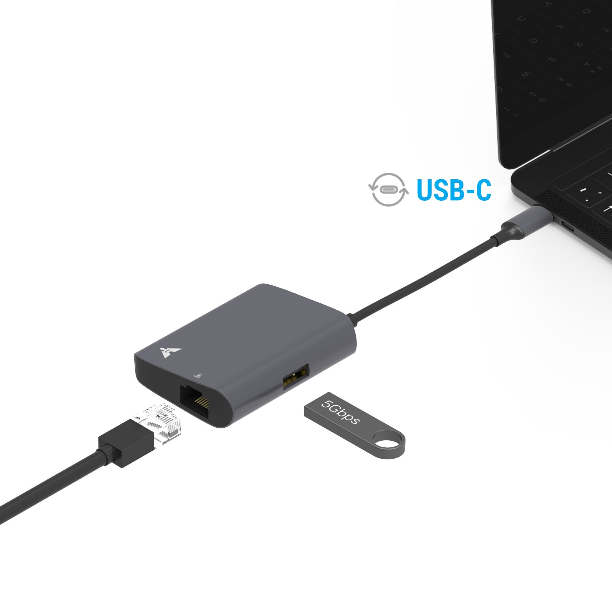 USB C to Ethernet Adapter, MAKETECH Slim Aluminum USB Type-C to Gigabit Ethernet Network & USB 3.0 HUB Adapter for 016/2017 Macbook Pro 2016, 2015/2016 Macbook, Chromebook Pixel and More
