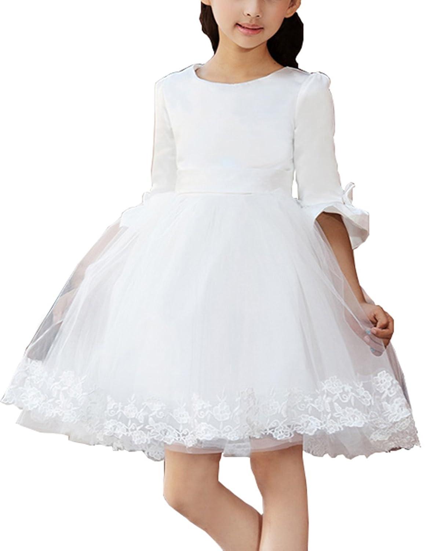 Jabelle Mädchen Prinzessin Blumenmädchenkleid Mädchen Kleid Brautjungfernkleid Hochzeitskleid mit Spitzenapplikation an dem Rocksaum XLA0144