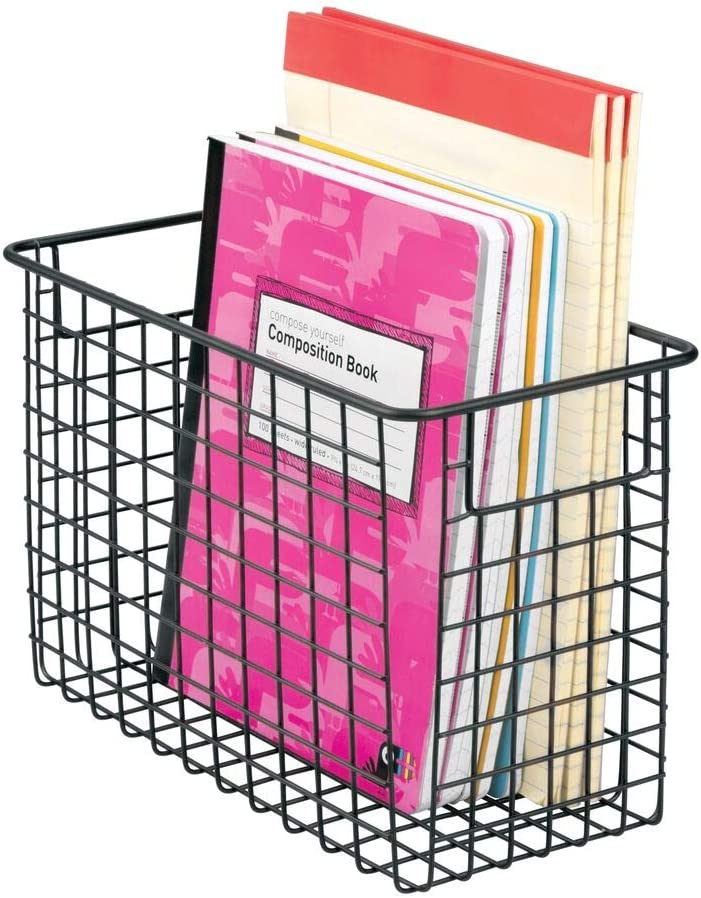 """mDesign Metal Wire Storage Basket Bin with Handles for Home Office, Filing Cabinets, Shelves - Organizer for School Supplies, Pens, Pencils, Notepads, Staplers, Envelopes, 12"""" x 6"""" - Black"""