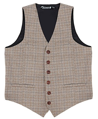 Zicac Men's Unique Advanced Custom Vest Skinny Wedding Dress Waistcoat (XL, Khaki)