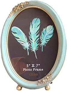 CISOO Vintage Oval Picture Frame 5x7 Antique Photo Frame Table Top Display and Wall Hanging Home Decor, Blue