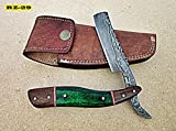 RZ-29, Custom Handmade Damascus Steel Straight Razor -...