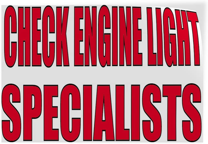 Decal Sticker Multiple Sizes Check Engine Light Specialists Automotive Checking Engine Outdoor Store Sign White Set of 10 14inx10in