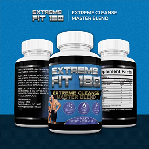 Extreme Fit 180-Extreme Cleanse Master Blend- Flush Excess Waste And Toxins- Increase Nutrient Absorption- Promote Weight Loss -100% Natural Key Ingredients (60 - Cleanse Flush Fat