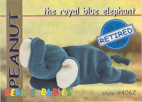 TY Beanie Babies BBOC Card - Series 1 Retired (BLUE) - PEANUT the Royal Blue Elephant ()