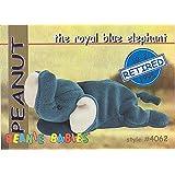 TY Beanie Babies BBOC Card - Series 1 Retired (BLUE) - PEANUT the Royal Blue Elephant
