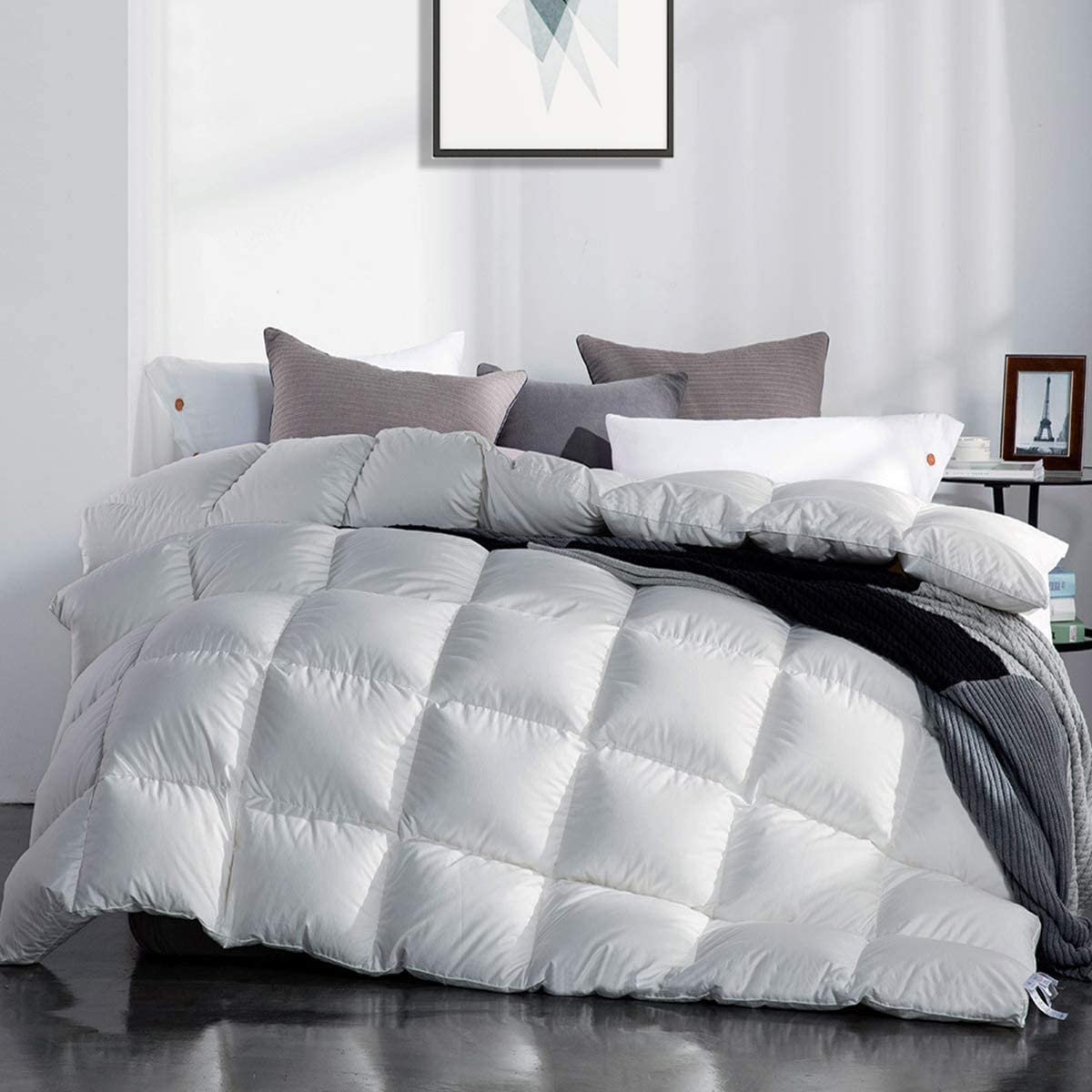 SNOWMAN White Goose Down Comforter Full/Queen Size 100% Cotton Shell Down Proof-Solid White Hypo-allergenic: Kitchen & Dining