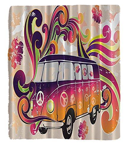 Chaoran 1 Flimflam Blanket on Amazon Super Silky Soft All Season Super Plush Bohemian Hippie Boho Peace Logotype Van Funny Minivan Explorer Caravan Paisley Antiqued Look Groovy Retro Art for Teen Girls Be