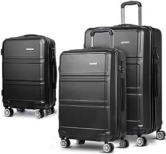 Luggage Set | Wanderlite 3 Pieces Hardshell Spinner Suitcase TSA Lock Trolley Lightweight Suitcase Organizer Sets with Scale | Black
