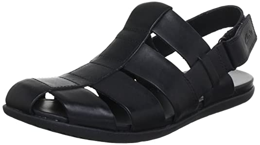 Clarks Men's Valor Sky Black Leather Sandals and Floaters - 6.5 UK Sandals & Floaters at amazon