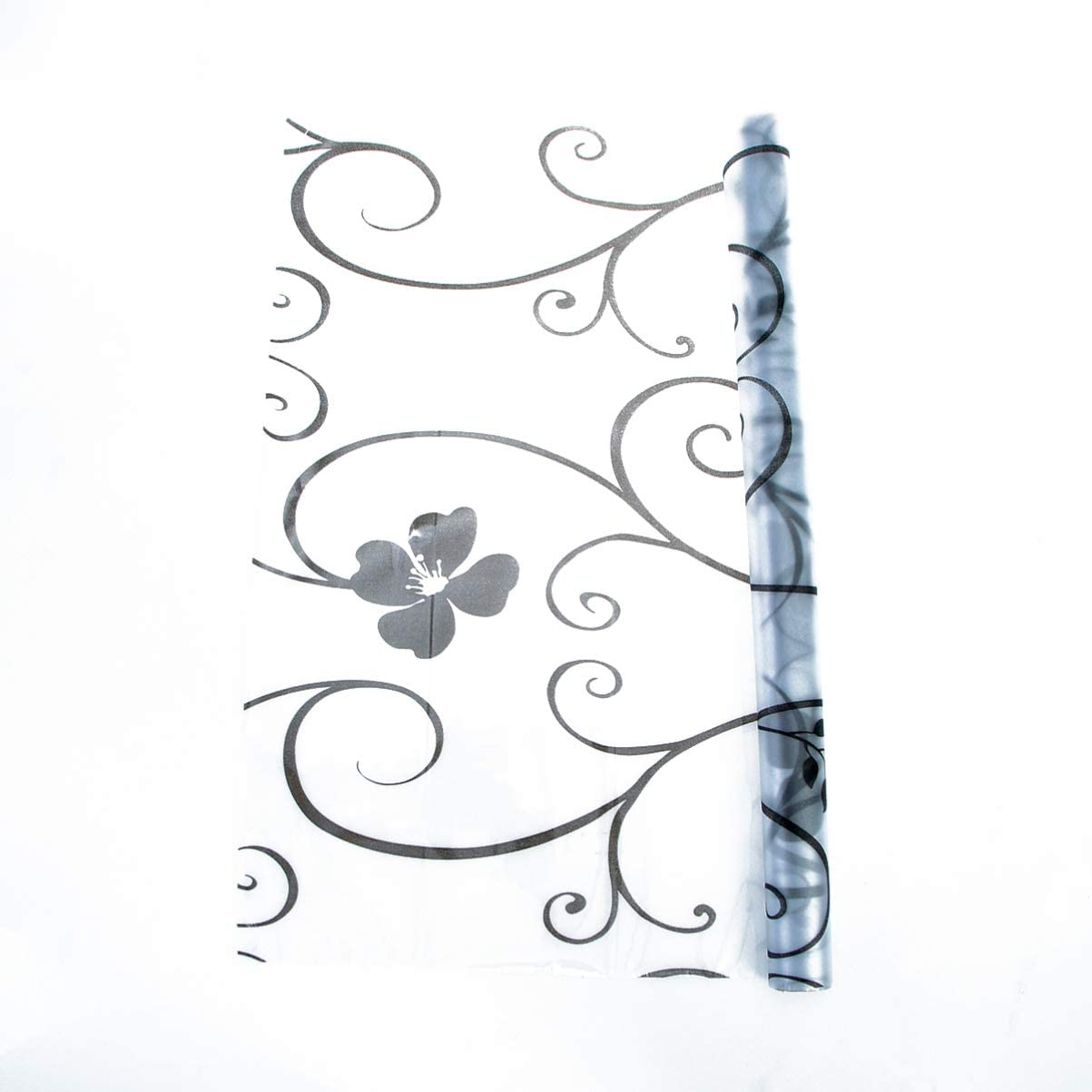 BESPORTBLE Self-Adhesive Frosted Glass Window Stickers Black Floral Flower Window Film Decals for Bathroom Bedroom Kitchen