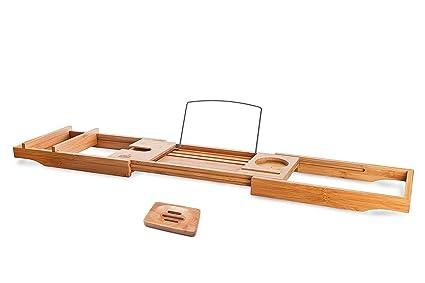 Amazon.com: Luxury Bamboo Bath Caddy Tray, Large Shower Bathtub ...