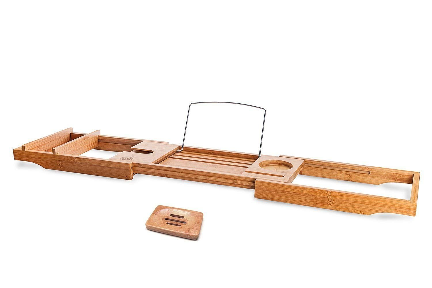 Luxury Bamboo Bath Caddy Tray,  Large Shower Bathtub Organizer Accessories With Extending Sides, Reading Rack, Wine Glass, Book, Tablet Holder and Phone Compartment, Bonus Soap Holder By OCENGS